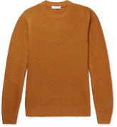 Sandro Slim-fit Waffle-knit Wool-blend Sweater - Camel