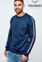 Threadbare Valley Crew Neck Stripe Detail Sweater - Blue