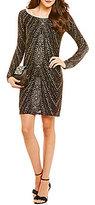 Jump Long Sleeve Glitter Pattern Sheath Dress