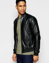 Armani Jeans Bomber Jacket In Faux Leather
