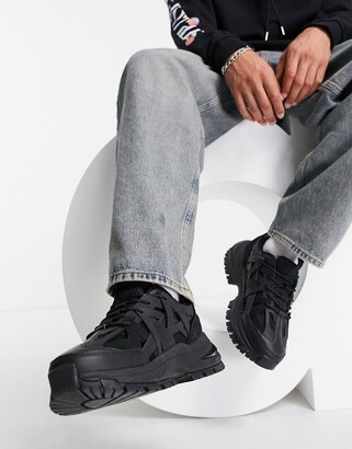 ASOS DESIGN trainers with multi rubber pannels and chunky sole in black