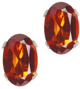 Gem Stone King 0.80 Ct Oval Shape Madeira Citrine Sterling Silver Stud Earrings