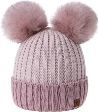 MFAZ Morefaz Ltd Women Ladies Winter Beanie Hat Knitted Chunky Beanie Hat with Double Faux Fur Pom Pom (Grey White)