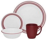 Corelle 16-Piece Vitrelle Glass Ruby Red Chip and Break Resistant 16 Pc Dinner Set, Service for 4, Red