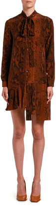 No.21 Snake-Print Tie-Neck Asymmetrical Short Dress