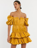 Asos Design DESIGN off shoulder structured tiered mini dress with ruching