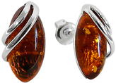 Goldmajor Marquise Amber Sterling Silver Stud Earrings, Cognac