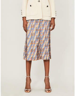 Gucci Giraffe-print pleated silk-satin midi skirt