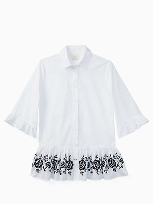 Kate Spade Broome Street Short Sleeve Embroidered Top