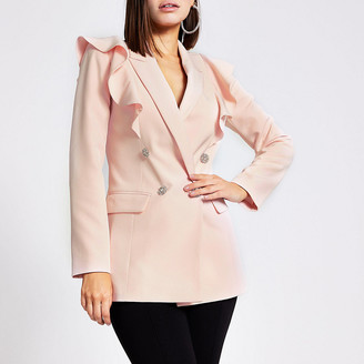River Island Light pink frill front double breasted blazer