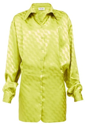 ATTICO Zigzag-jacquard Satin Mini Shirt Dress - Green