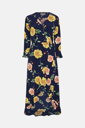 Coast Long Sleeve Floral Print Wrap Midi Dress