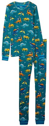 Hatley Superhero Dinos Organic Cotton PJ Set (Toddler/Little Kids/Big Kids) (Blue) Boy's Pajama Sets