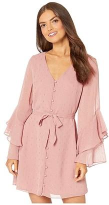 Cupcakes And Cashmere Keegan Metallic Dot Chiffon Dress w/ Ruffle Sleeves (Earthen Mauve) Women's Dress