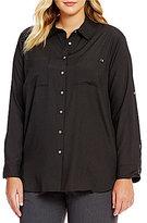 Calvin Klein Plus Roll-Tab Sleeve Tunic