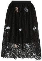 Markus Lupfer Taylor Embellished Lace Midi Skirt