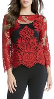 Karen Kane Embroidered Lace Flare Sleeve Top
