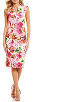 CeCe Floral Tropic Scuba Midi Sheath Dress
