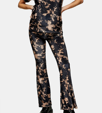 Topshop Maternity tie dye flared trousers in black