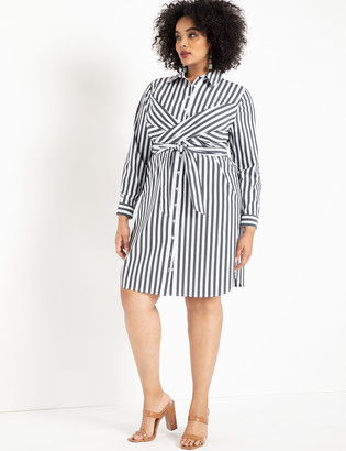 ELOQUII Striped Cinched Waist Dress