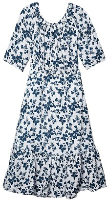 Michael Stars Anya Shadow Floral Double Gauze Convertible Tiered Dress (White) Women's Clothing