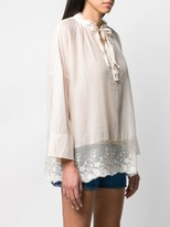 Semi-Couture Lace Trimmed Blouse