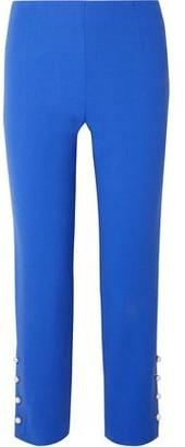 Lela Rose Cropped Faux Pearl-embellished Wool-blend Crepe Straight-leg Pants