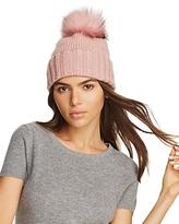 Inverni Foldover Knit Beanie with Asiatic Raccoon Fur Pom-Pom