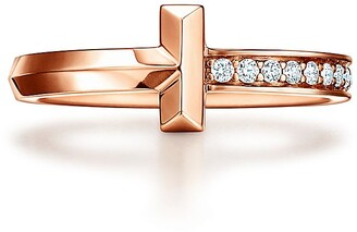 Tiffany & Co. T T1 Ring in Rose Gold with Diamonds, 2.5 mm