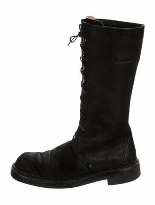 CNC Costume National Leather Combat Boots Black