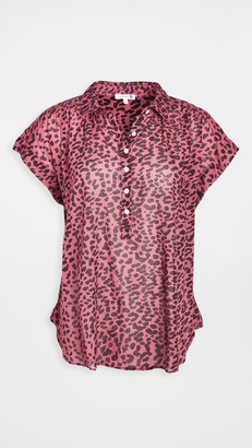 Sundry Leopard Shirred Henley