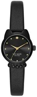 Kate Spade Cat Stainless Steel, Crystal & Leather-Strap 3-Hand Watch