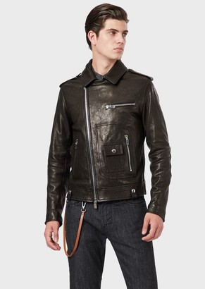 Emporio Armani Vegetable-Tanned Lambskin Nappa Leather Jacket With Off-Centre Zip