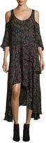 IRO Yvana Floral Silk Cold-Shoulder Midi Dress, Black/Khaki