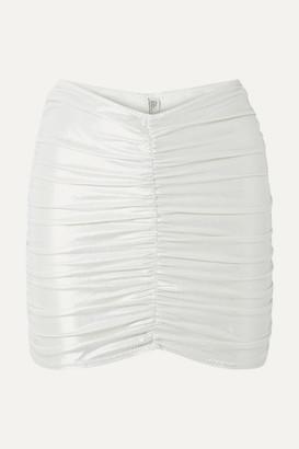 Lisa Marie Fernandez Ruched Metallic Swim Skirt - Silver