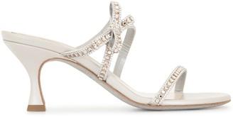 Rene Caovilla Crystal Embellished Slip-On Sandals