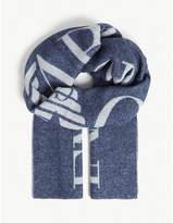 Emporio Armani Logo wool scarf