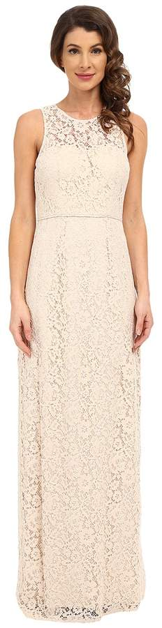Donna Morgan Harper Illusion Neck Lace Long Gown Women's Dress