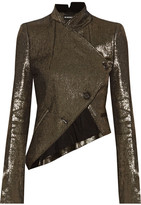 Ann Demeulemeester Asymmetric Metallic Linen-blend Jacket - Gold