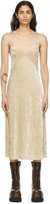 R 13 Beige Velvet Side Stripe Slip Dress