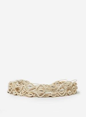 Dorothy Perkins Womens Cream Crochet Shell Buckle Belt, Cream