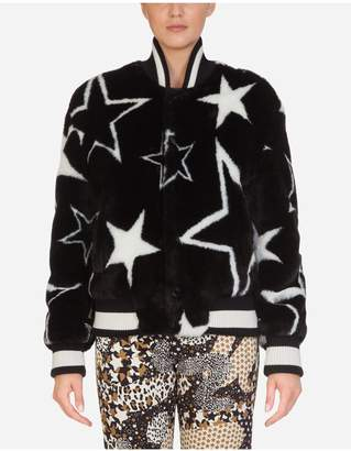 Dolce & Gabbana Millennials Star Print Eco Fur Coat
