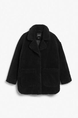 Monki Oversized faux shearling coat