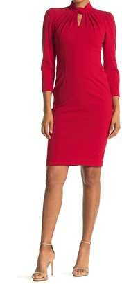 Calvin Klein Mock Neck Keyhole 3/4 Sleeve Sheath Dress