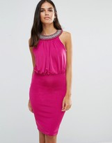 Jessica Wright Pencil Dress With Embellished Neckline