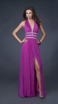 La Femme Silver Embellished Ruched Halter Neck Chiffon A-line Gown 16123