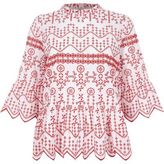 River Island Womens Red embroideRed cutaway hem smock top