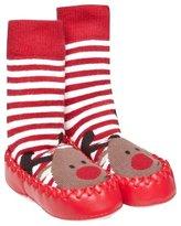 Jo-Jo JoJo Maman Bebe Slipper Socks - Reindeer-0-6 Months