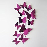 Creazy Wall Stickers Decal Butterflies 3D Mirror Wall Art Home Decors (Hot pink)
