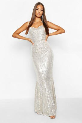 boohoo All Over Embellished Fishtail Maxi Dress